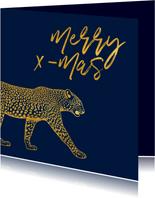 Kerstkaart merry x-mas met gouden luipaard