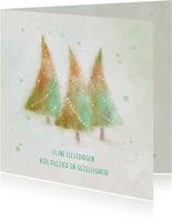 Kerstkaart met 3 aquarel kerstbomen