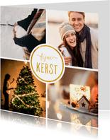 Kerstkaart met 4 foto's vierkant 'Fijne kerst'