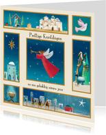 Kerstkaart met bijbelse illustraties