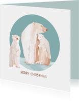 Kerstkaart met een ijsberenfamilie