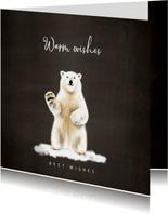 Kerstkaart met een illustratie van een ijsbeer