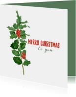Kerstkaart met een illustratie van hulst