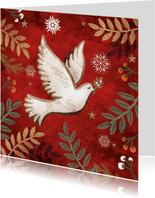 Kerstkaart met een vredesduif, rode achtergrond