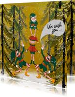 Kerstkaart met elfjes