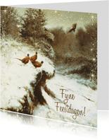 Kerstkaart met fazanten in het winterbos
