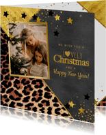 Kerstkaart met foto stoer panterprint en sterren