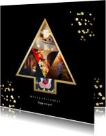Kerstkaart met fotokerstboom en gouden confetti