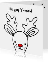 Kerstkaart met getekende Rudolf