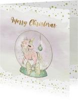 Kerstkaart met globe en eenhoorn