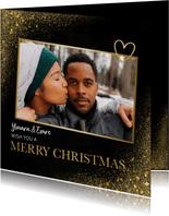 Kerstkaart met goud, foto en en merry christmas