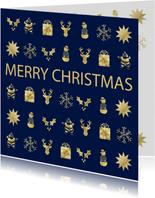 Kerstkaart met gouden figuurtjes