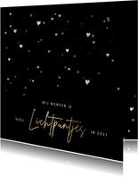 Kerstkaart met gouden hartjes veel lichtpuntjes voor 2021