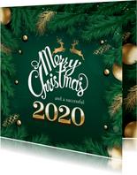 Kerstkaart met gouden tekst
