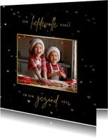 Kerstkaart met hartjes en grote foto
