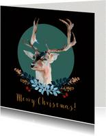 Kerstkaart met hert en botanisch kerstdecoratie