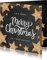 Kerstkaart met houten sterren, Merry Christmas en krijtbord