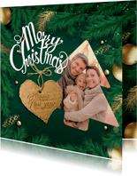 Kerstkaart met hulst en kerstfoto