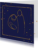 Kerstkaart met illustratie Jozef, Maria en Jezus