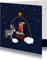 Kerstkaart met illustratie Jozef Maria Jezus in de stal