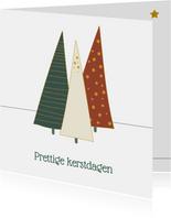 Kerstkaart met illustratie kerstbomen