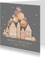 Kerstkaart met kerstballen en Amsterdam huisjes