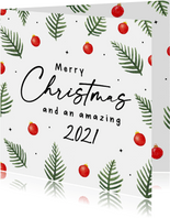 Kerstkaart met kersttakken en kerstballen in kerstkleuren