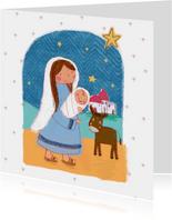 Kerstkaart met kindeke Jezus