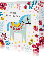 Kerstkaart met kleurrijk paard