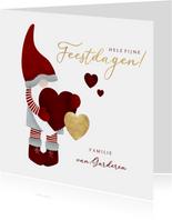 Kerstkaart met leuke kerstman, hartjes en fijne feestdagen