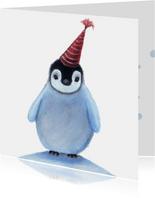 Kerstkaart met lieve pinguin