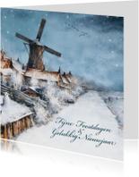 Kerstkaart met molen in winters landschap