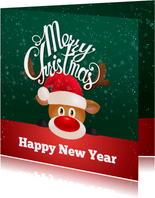 kerstkaart met rendier en kerstmuts