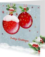 Kerstkaart met rode kerstballen klassiek