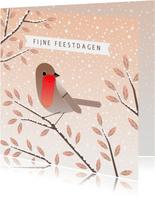 Kerstkaart met roodborstje op winterse takken