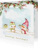 Kerstkaart met sneeuwpop man en vrouw