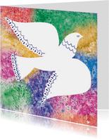 Kerstkaart met Vredesduif , kleurrijke achtergrond