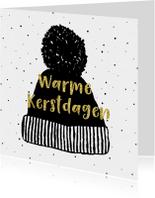 Kerstkaart met warme wintermuts