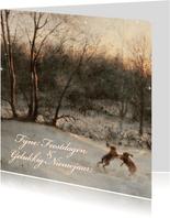 Kerstkaart met wintertafereel 'Hazen in het bos'