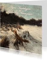 Kerstkaart met wintertafereel 'Vos in open bos'