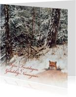Kerstkaarten - Kerstkaart met wintertafereel 'Vos in winterbos'