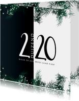 Kerstkaart modern 2020, eenvoudig met kersttakjes + lichtjes