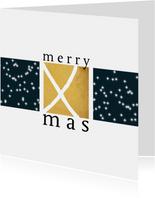 Kerstkaart modern, goudlook en sterretjes