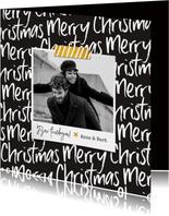 Kerstkaart modern typografisch foto merry christmas