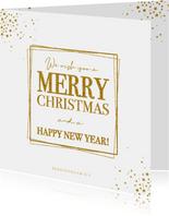 Kerstkaart moderne stijlvolle kaart met goudkleurige tekst