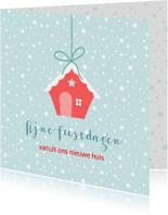 Kerstkaart nieuw huis rood