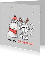 Kerstkaart - Nijlpaard en aapje met kerstmuts