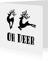 Kerstkaart Oh Deer Zwart Wit