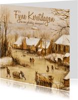 Kerstkaart Oudhollands winterlandschap