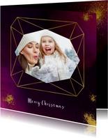 Kerstkaart paars verf met diamantvorm en goudspetters